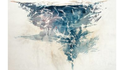 "Ray Kass; ""Eddy - Maury River,"" 2003; Water media, smoke, and mica on rag paper under beeswax and mounted on primed wood panel; framed in recessed white maple"