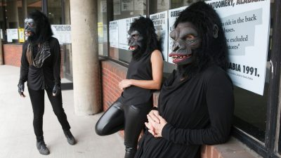 Guerrilla Girls at the Abrons Art Center, 2015; photo © Andrew Hindraker