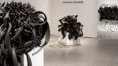 Chakaia Booker's sculptures in the Moss Arts Center gallery