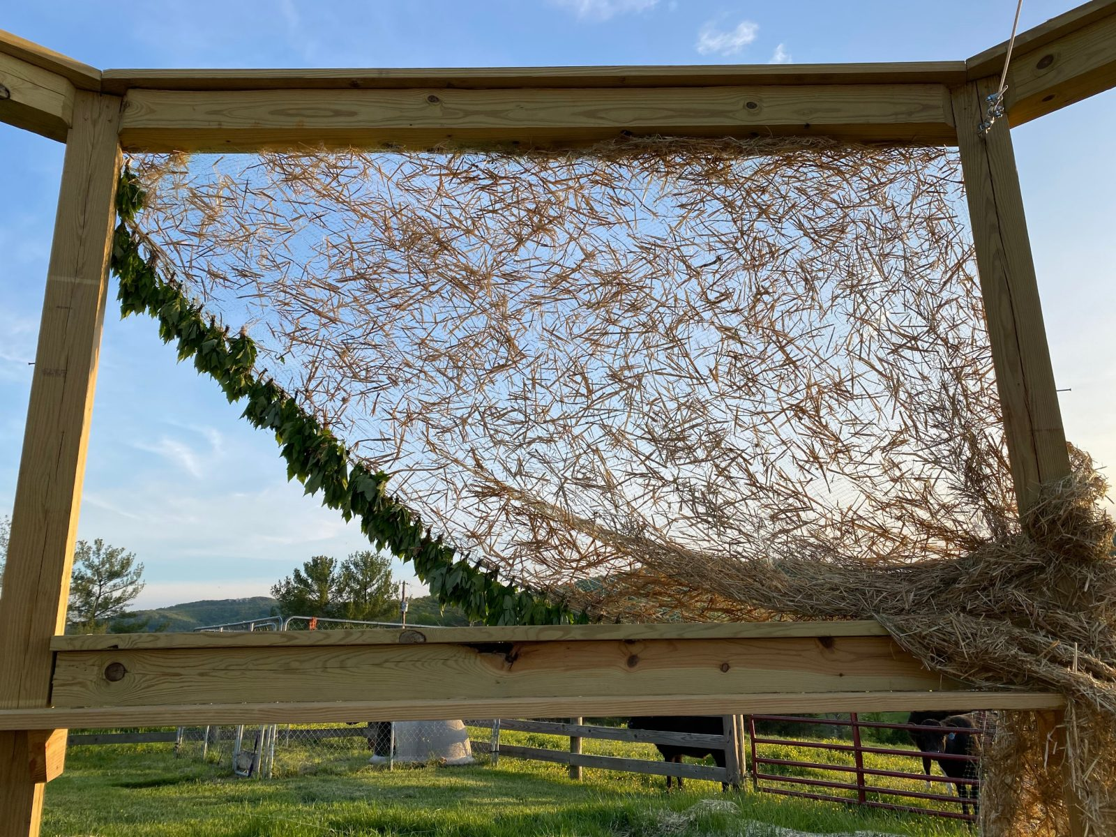 A wooden structure with an attached curtain made of hay and leaves