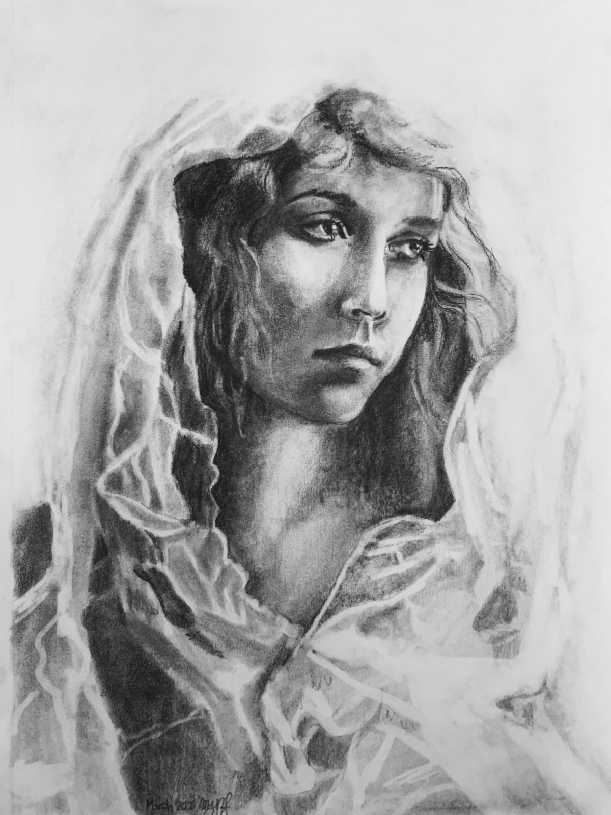 A graphite drawing of a woman in a veil
