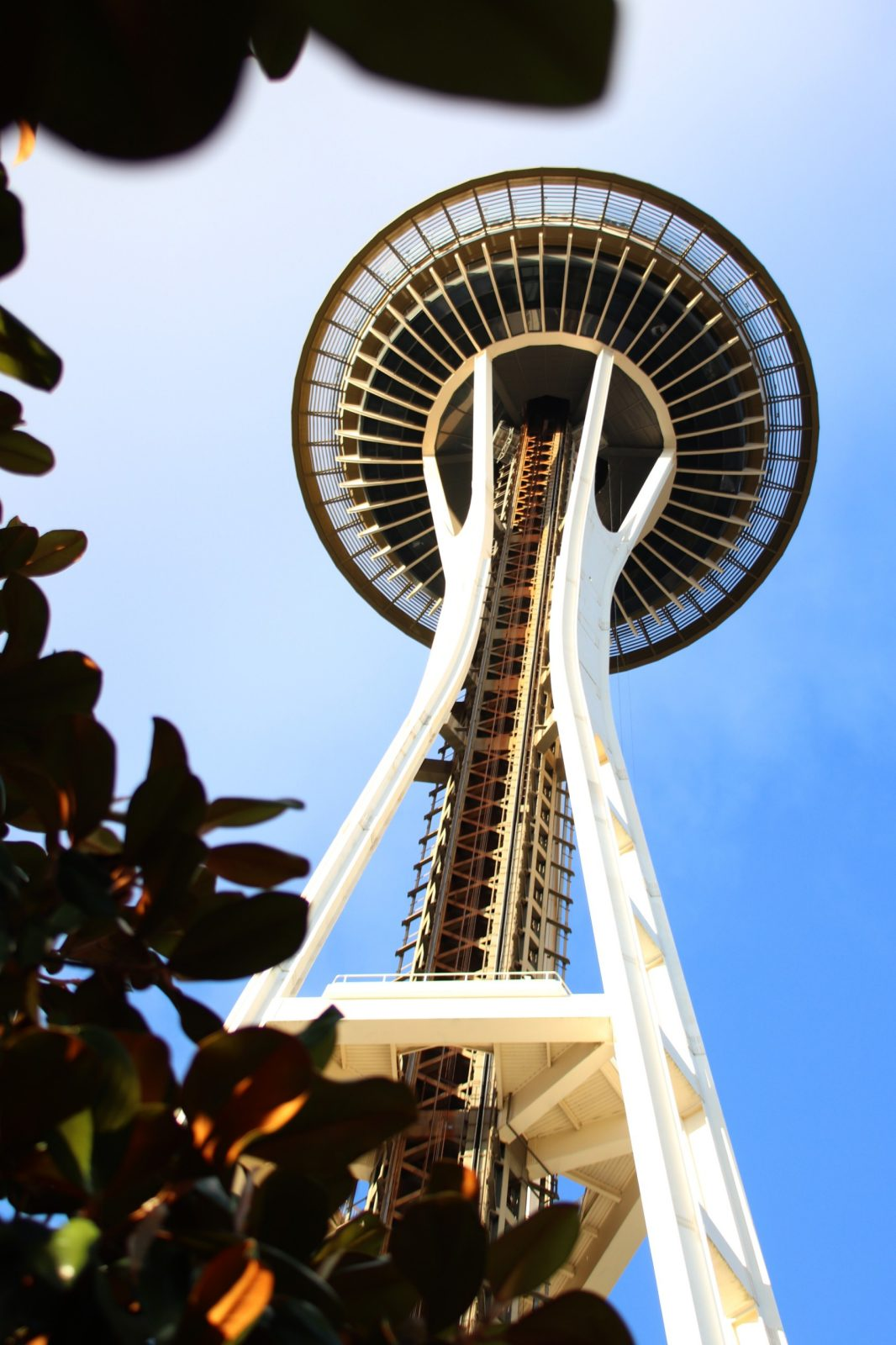 Photo of the Space Needle in Seattle, shot from below
