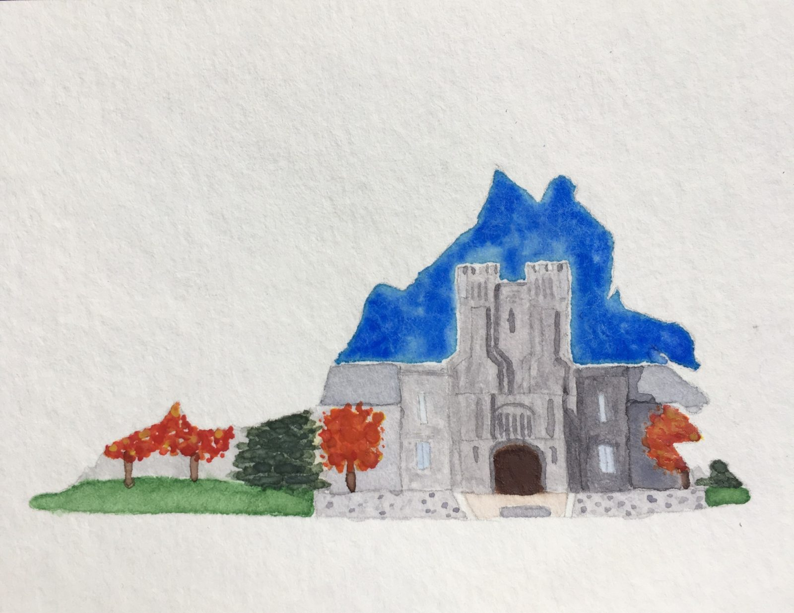 A painting of Virginia Tech's Burruss Hall within the outline of the state of Virginia