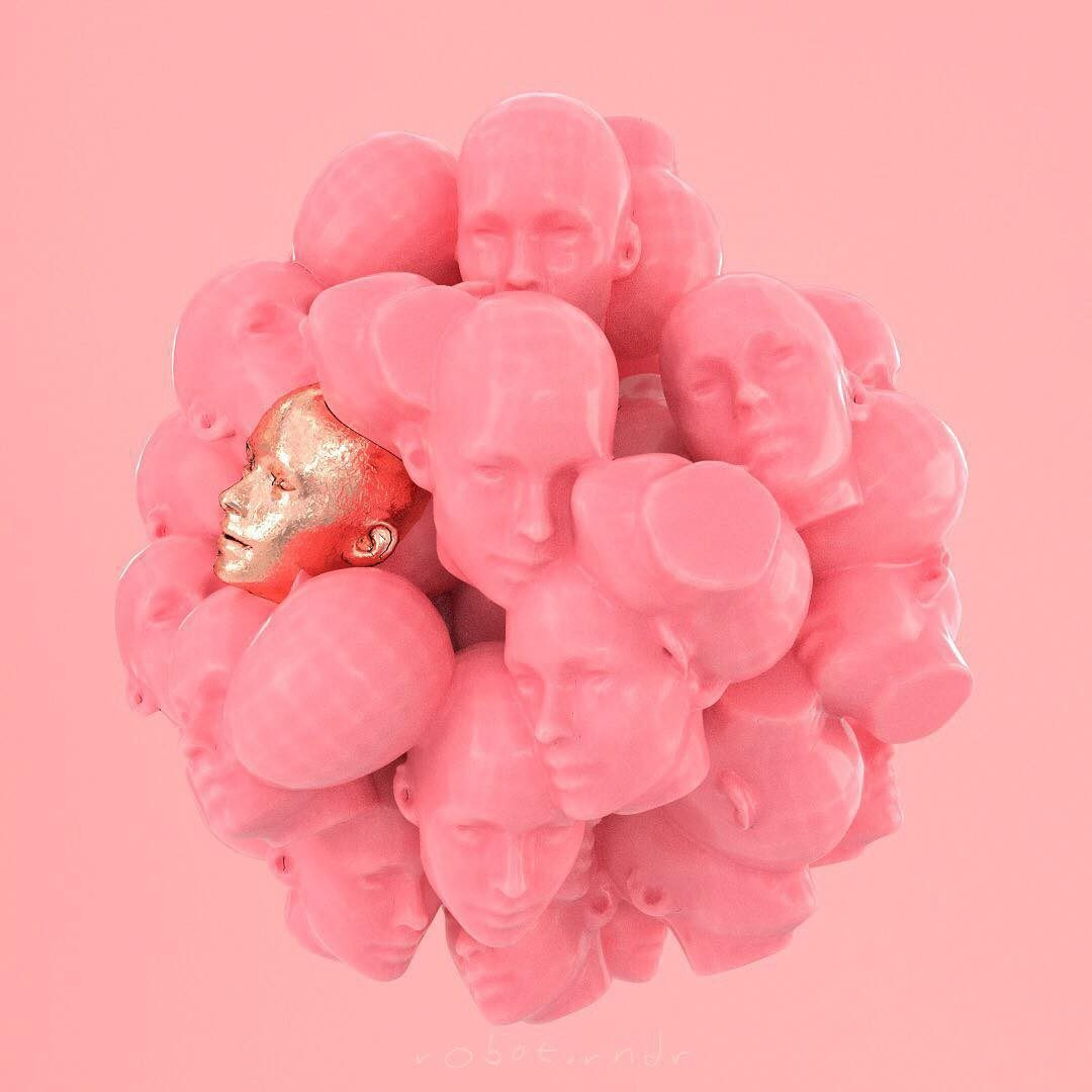An image of small pink doll heads and one gold doll head clustered together into a ball