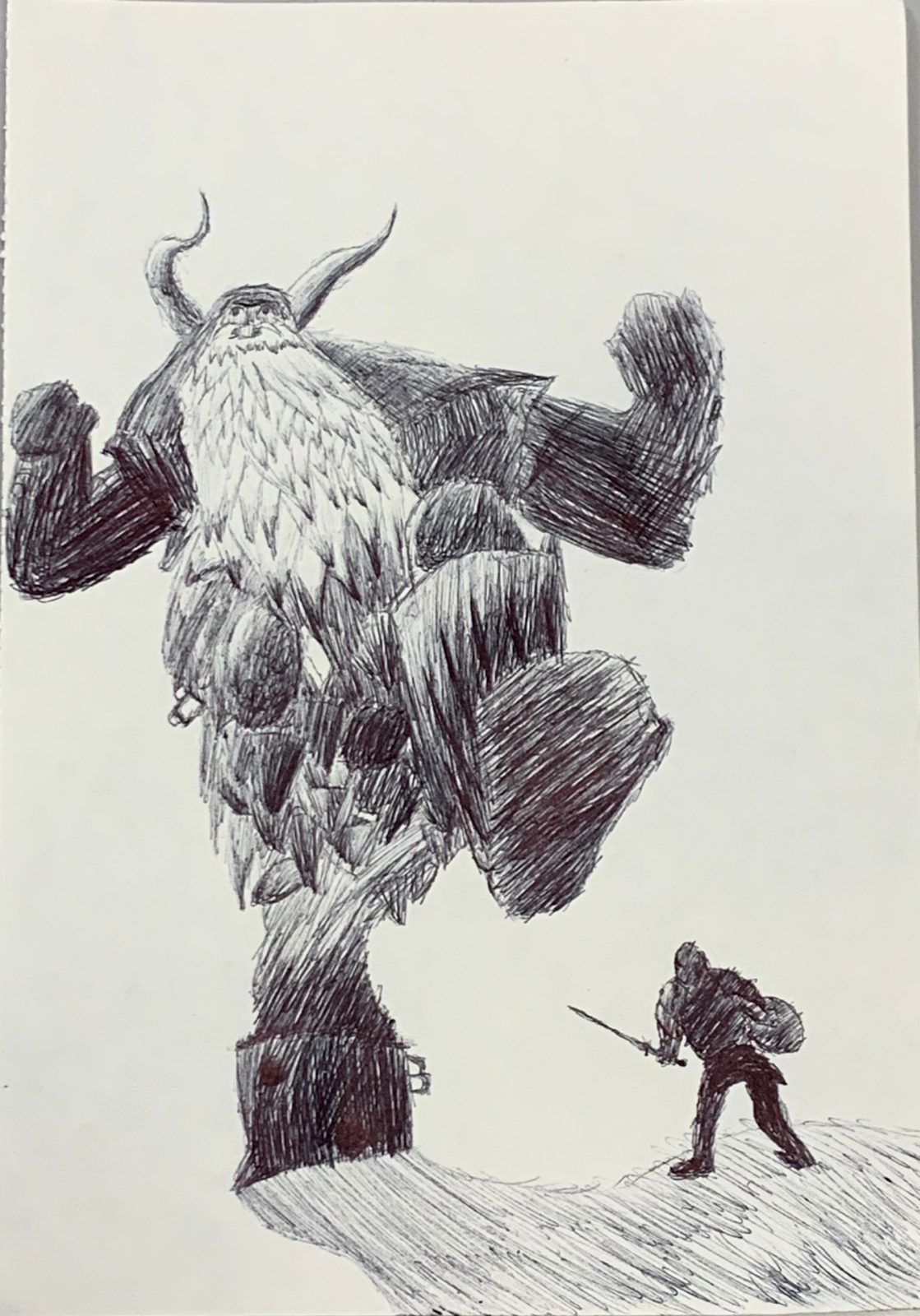 A pen and ink drawing of a knight with a shield and sword facing a frost giant