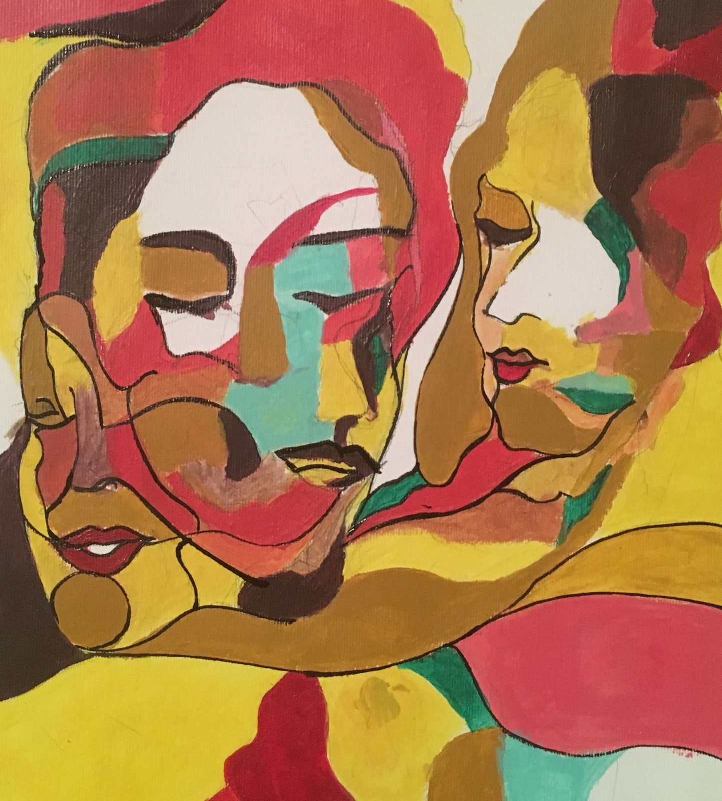 An abstract painting of faces in yellow, orange, pink, red, and teal,