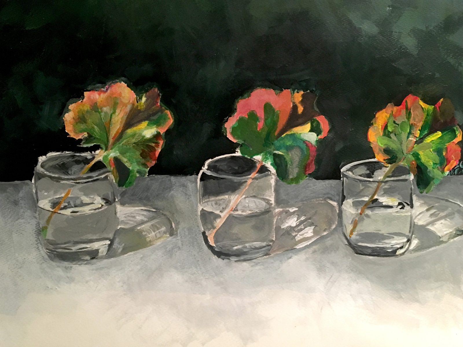 A painting of three leaves in three separate small glasses of water