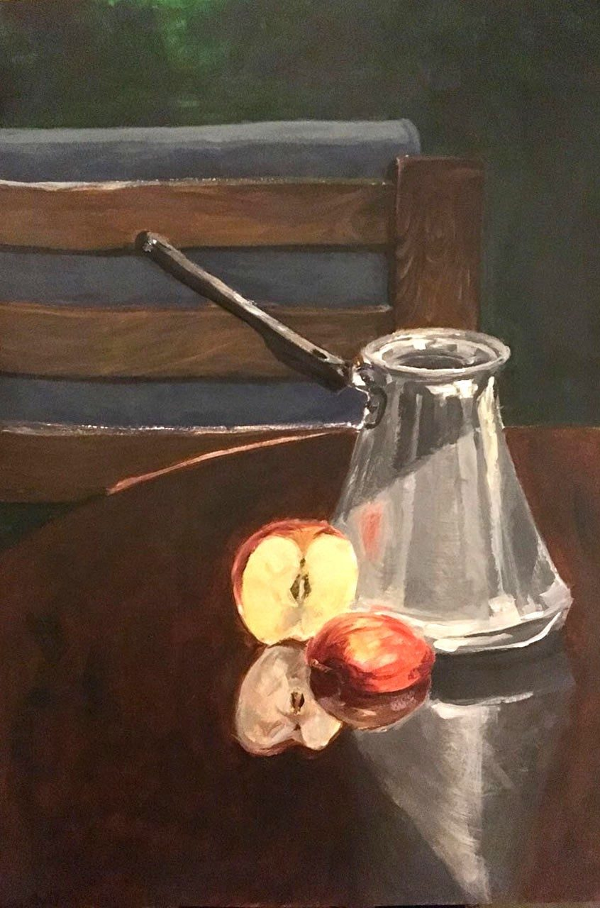 A painting of a metal coffee pot and a halved apple on top of a wooden table