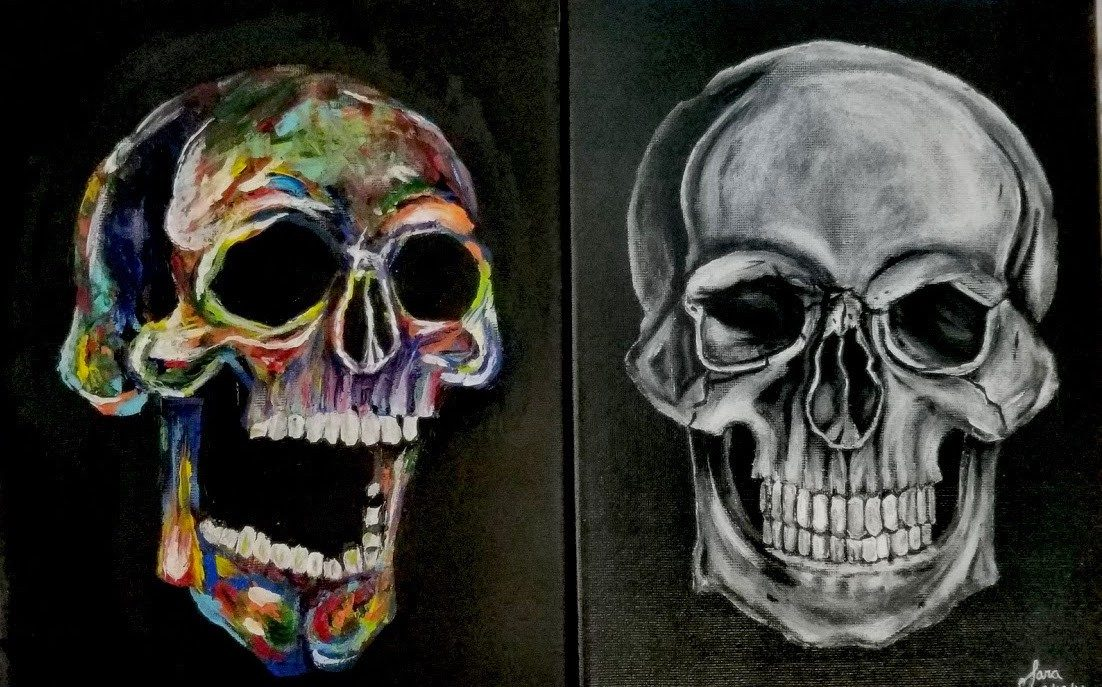 A painting of two skulls, a normal one in black and white and a laughing one in color