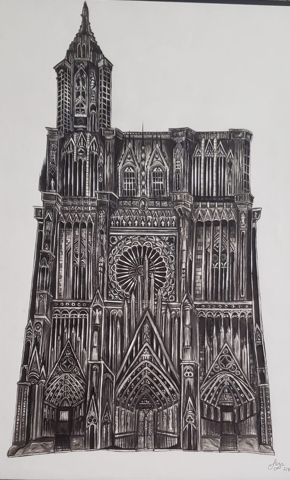 A pen and ink drawing of Stasbourg Cathedral in France