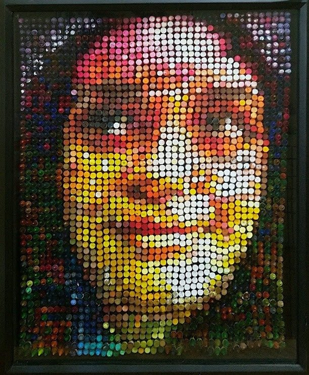 A sculptural portrait of the artist's sister made out of crayons