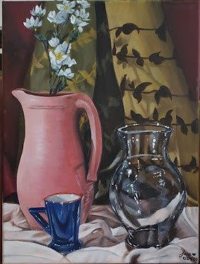 A still life painting of a pink vase with flowers, a glass vase, and a blue mug