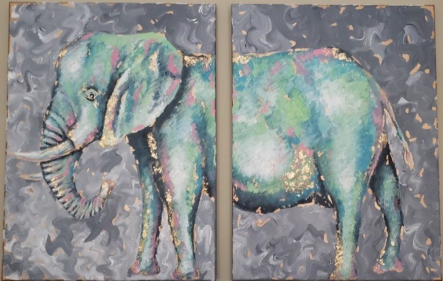 A painting of an elephant on two canvases