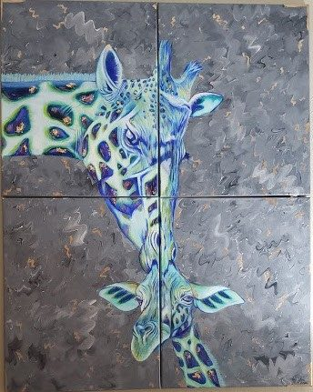 A painting of a mother giraffe kissing a baby giraffe on the head, spread onto four canvases