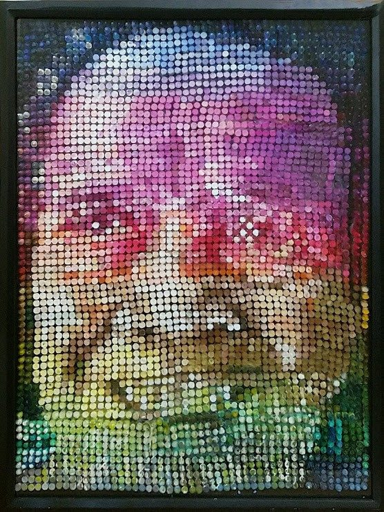A sculptural portrait of the artist's grandmother made out of crayons