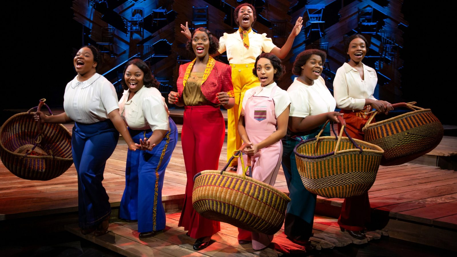 The Color Purple; Line 1 - Elizabeth Adabale, Chédra Arielle, Sandie Lee, Gabriella Rodriguez, Shelby A. Sykes, Parris Lewis. Line 2 - Mariah Lyttle, THE COLOR PURPLE © JEREMY DANIEL