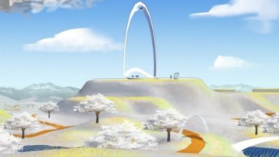 A screenshot from the Virtual Sculpture Garden, showing a large white arc sculpture on a vista behind 3D dogwood trees