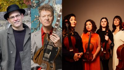 Composite image of, from left, composer Douglas J. Cuomo in a black hat and grey trenchcoat; Wilco guitarist Nels Cline holding an electric guitar and wearing a red button down shirt under a light grey blazer; and the Aizuri Quartet, four women in a line holding their string instruments