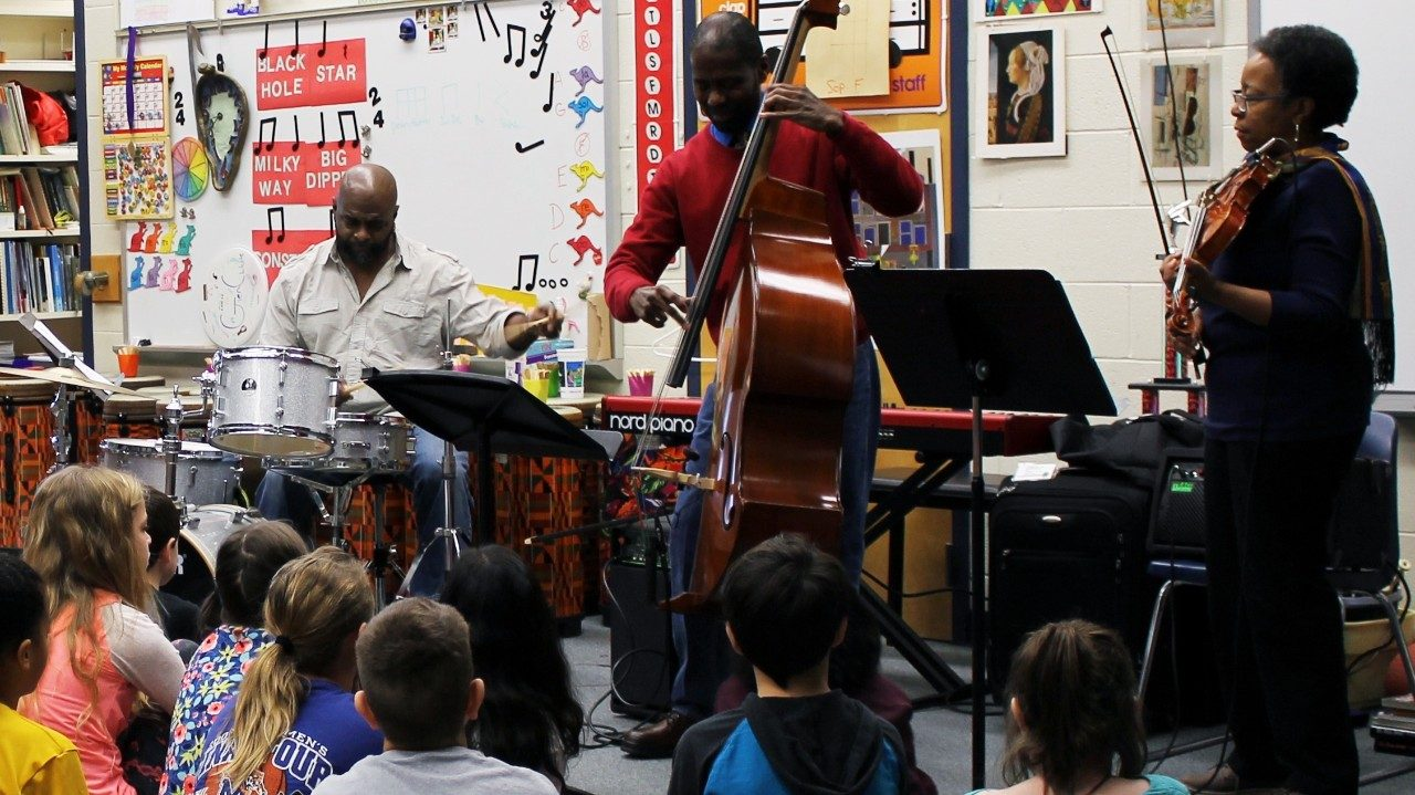 The Avery Sharpe Trio visits students at Kipps Elementary School