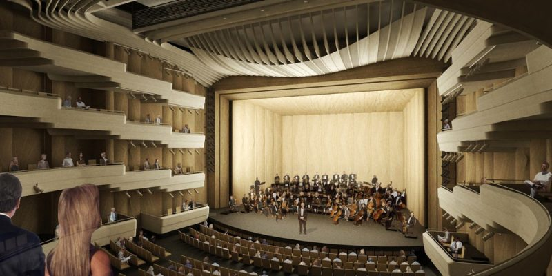 Center for the Arts at Virginia Tech rendering: Theatre, with Orchestra Shell